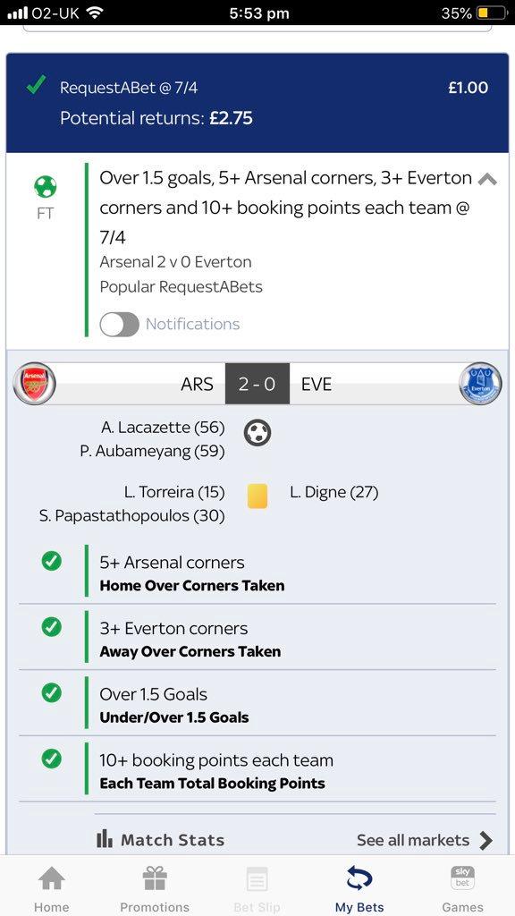 SkyBet RequestABet Arsenal v Everton