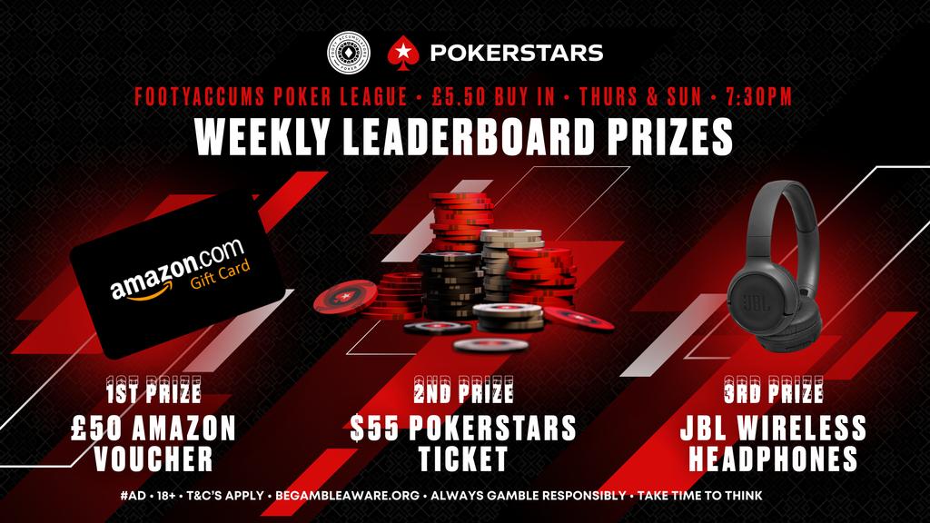 weekly leaderboard prizes pokerstars