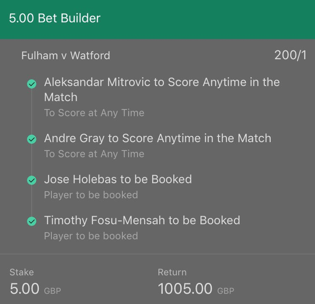 Bet365 RequestABet Fulham v Watford