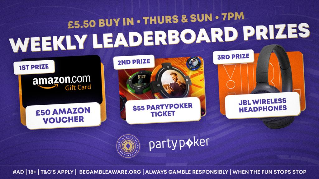 weekly leaderboard prizes august poker