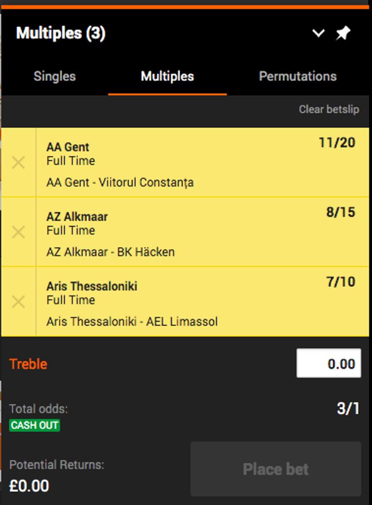 treble bet example