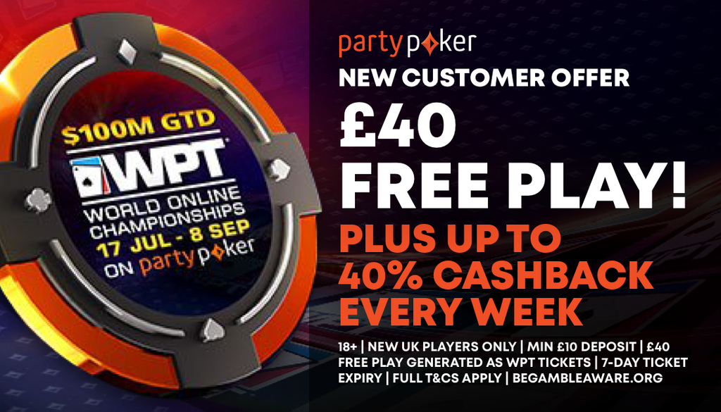 partypoker £40 freeplay sign up offer