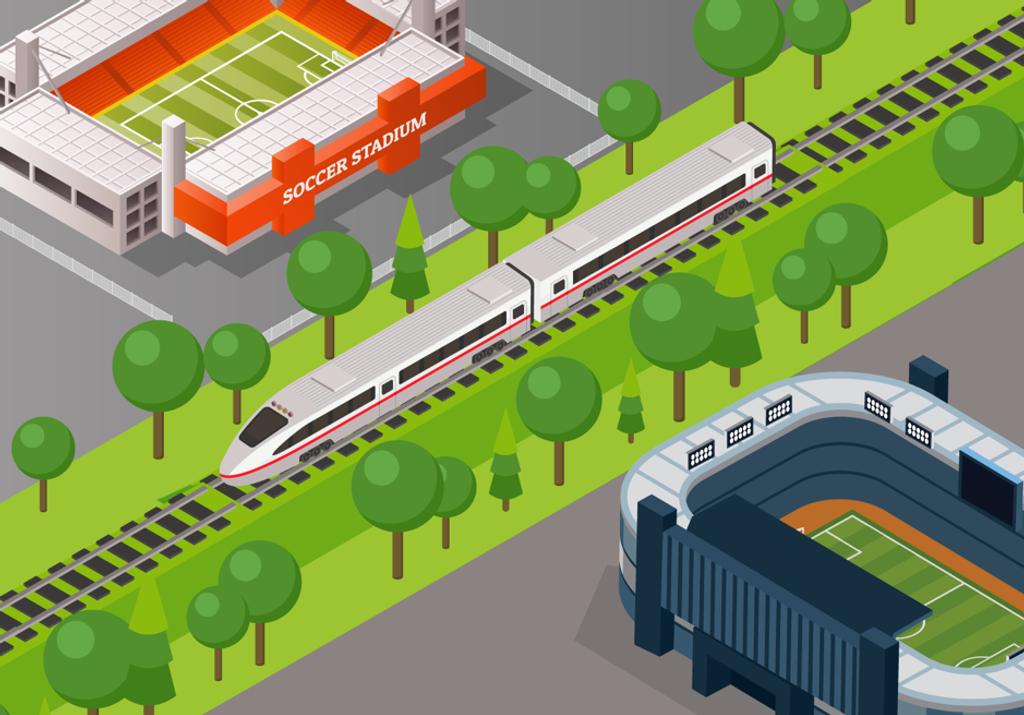 Football stadium next to train station