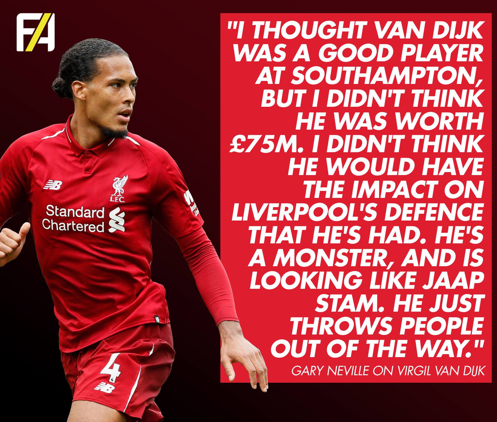 Virgil van Dijk Liverpool Gary Neville