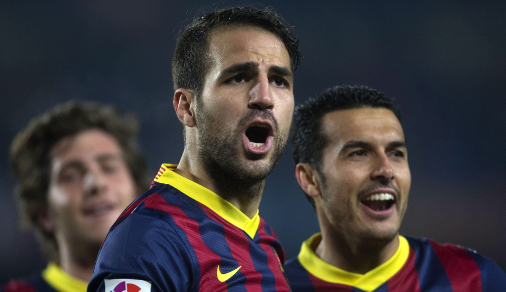 Cesc Fabregas Pedro Rodriguez Sergi Roberto Barcelona La Liga