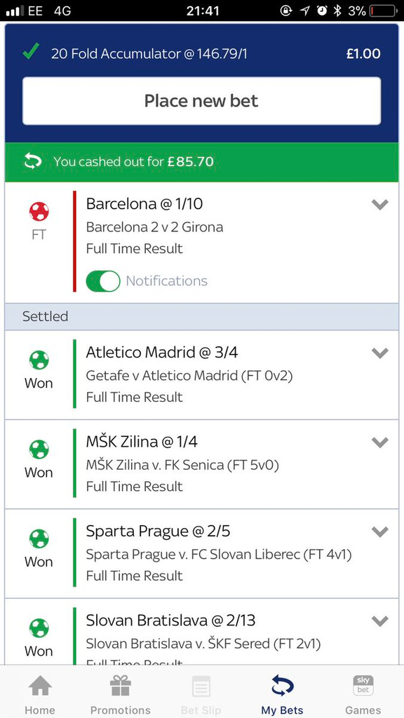SkyBet Accumulator Football Bet Barcelona 2-2 Girona