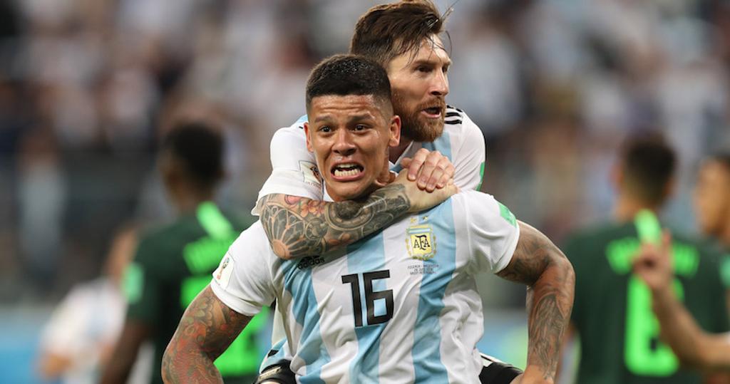 Marcos Rojo Lionel Messi Argentina