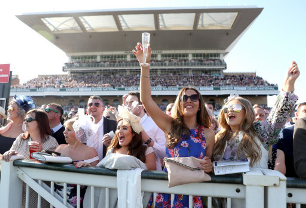 Revellers at Aintree enjoying the day.