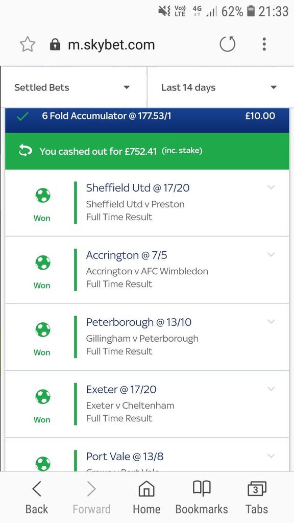 Football Accumulator Cash Out Bet